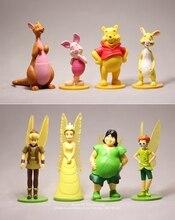 Action figure do pooh 7 12cm 8 pçs/set, disney, winnie, mini estatueta de decoração de anime, modelo de brinquedo para presente das crianças