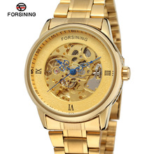Forsining Men s Watch Luxury Automatic Self wind Analog Skeleton Stainless Steel Band Wristwatches Color Gold