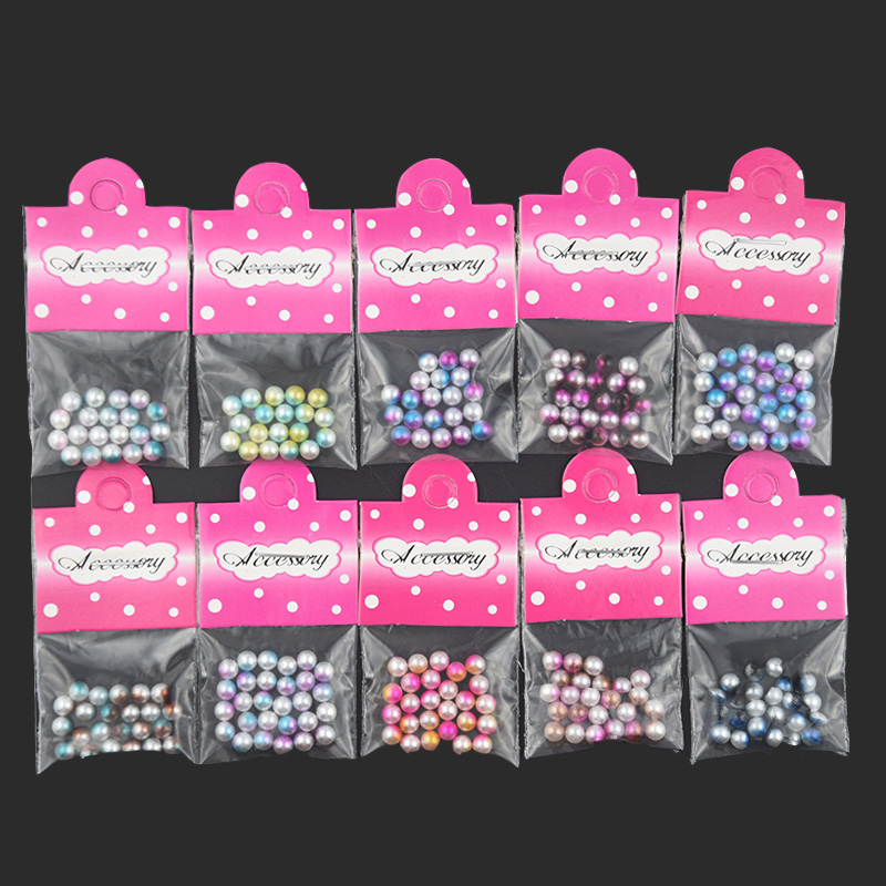 Swagpick 1 bag Pearl Mermaid Beads Round Magic Gradient Symphony Nail Art Decor 3D Manicure Charm Jewelry Crystal