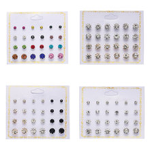 Fashion 12 pair/set Women Round Crystal Stud Earrings for Women Cubic Zircon Piercing Earrings for Girls Jewelry Gift(China)