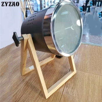 American Retro Creative Table Lamp Rotatable Searchlight Wooden Led Desk Lamp Bedroom Bedside Bed Lamp Living Room Table Light