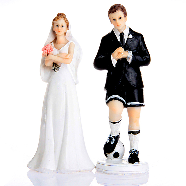 Soccer Groom Exasperated Bride Wedding Cake Topper For Party Resin Craft