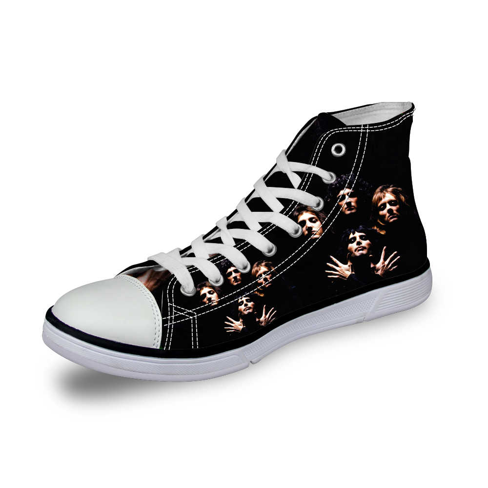b16acf73b2f5 ... ELVISWORDS Queen Band Bohemian Rhapsody Mens High-top Vulcanized Shoes  Casual Cool Canvas Shoes for ...