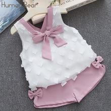 Humor bear/Одежда для маленьких девочек Лидер продаж года, новые летние комплекты одежды для девочек детская одежда шифоновое пальто с бантом+ штаны для малышей, От 1 до 4 лет