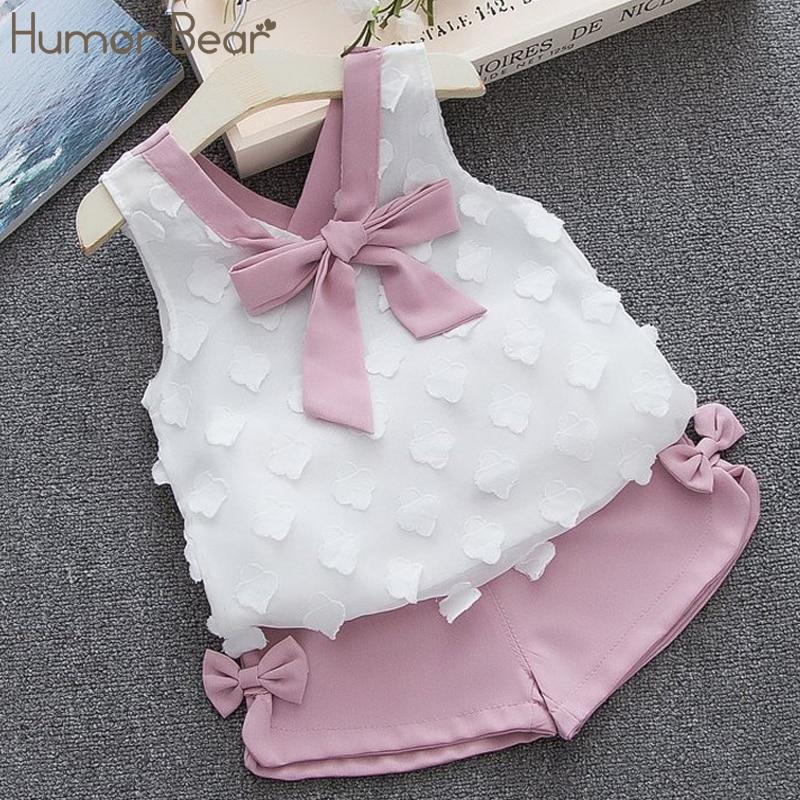 הומור דוב תינוקת בגדי 2019 חם קיץ חדש בנות בגדים סטי ילדים מפרץ בגדים פעוט שיפון bowknot מעיל + מכנסיים 1-4Y
