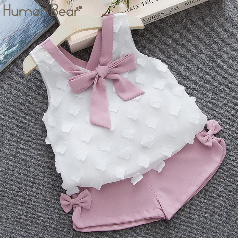 Humor Bear Baby Girl Clothes Hot Summer Children's Girls' Clothing Sets Kids Bay Clothes Toddler Chiffon Bowknot Coat+Pants 1-4Y