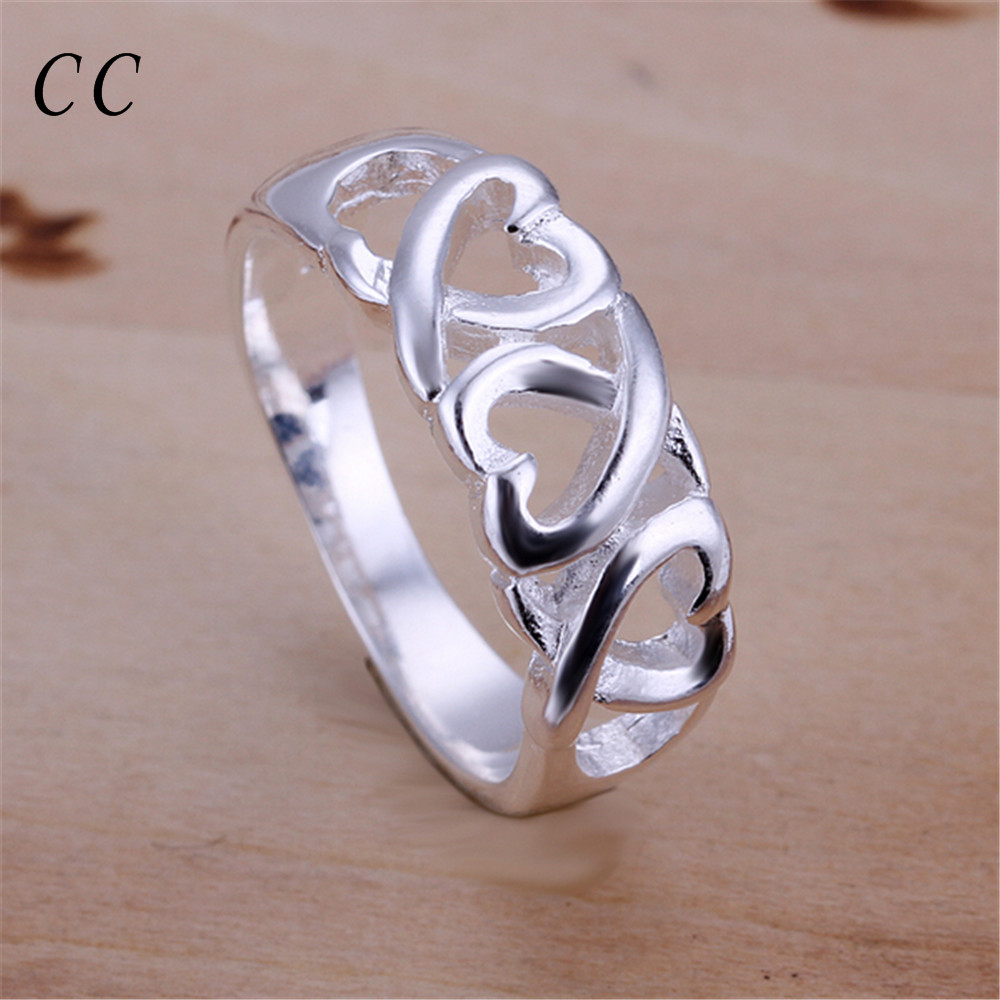 Simple three hearts lace silver plated rings for women cute casual ...