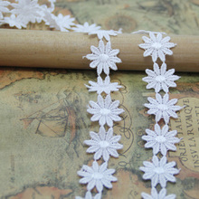 14Yards 2.5cm Flower Pattern Embroidered Lace Trim Home Applique DIY Sewing Craft Ribbon Wedding Accessory Free Shipping