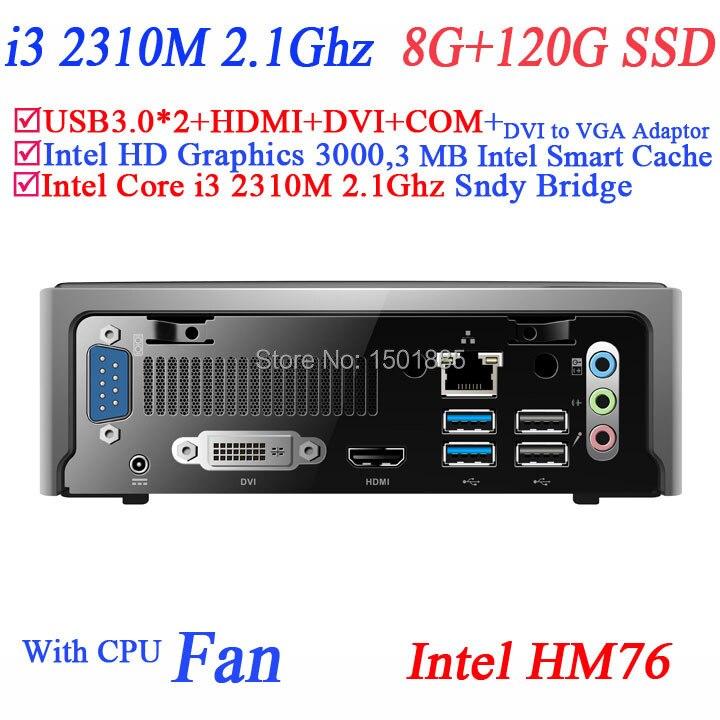 OEM lowest price Linux mini pc with Intel Core i3 2310M 2.1Ghz 8G RAM 120G SSD mini pc ubuntu