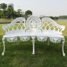white aluminum garden bench