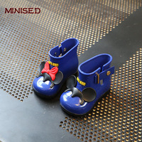 MINISED Brand Children Shoes Infant Rain Boots Girls Shoes High Summer Boots Baby Rubber Cartoon Bow
