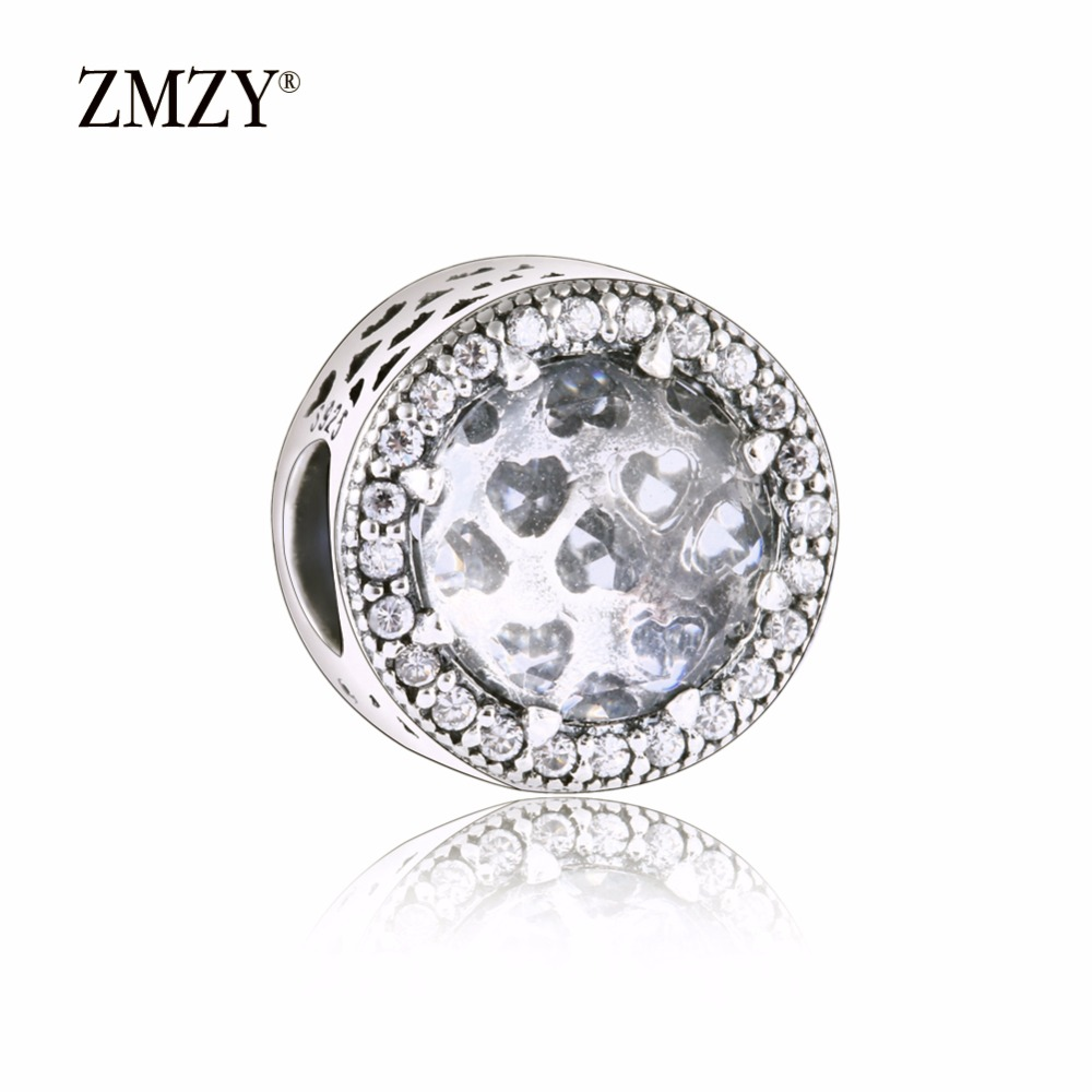ZMZY Authentic 925 Sterling Silver Charms Abstract Clear Cubic Zirconia Charm Beads Fits Pandora Charm Bracelet Making