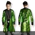Зеленое золото мужчины длинные blazer куртки пальто и пиджаки певец ds танцор производительность блесток платье выпускного вечера партия показать бар ночной клуб