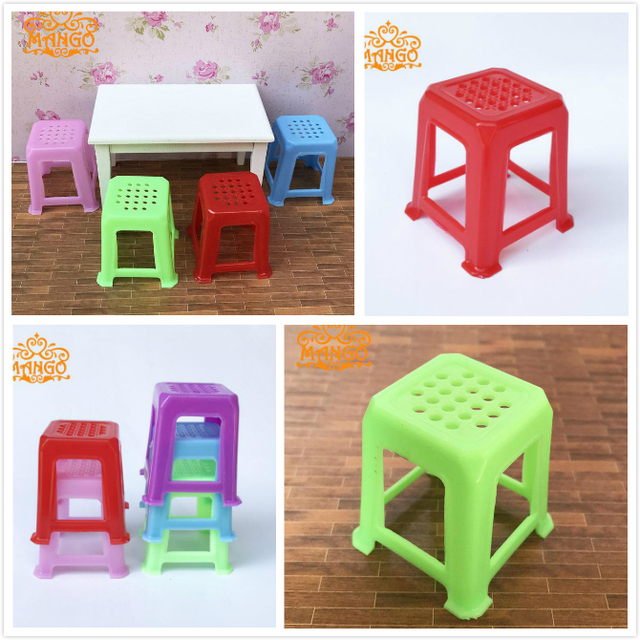 1/12 Dollhouse Dining Room Furniture Plastic Chairs Stool Multicolored  Classic Toys