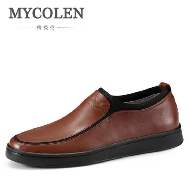 MYCOLEN Men's Leather Casual Shoes Autumn Luxury Brand Shoes Slip-on Men Loafers Adult Male Winter Cow leather Shoes new 2017 men s genuine leather casual shoes korean fashion style breathable male shoes men spring autumn slip on low top loafers