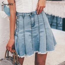 Simplee Elegante EEN lijn vrouwen denim mini rok Hoge taille kwastje vrouwelijke blauw jeans rok Casual korte zomer mode rokken 2019