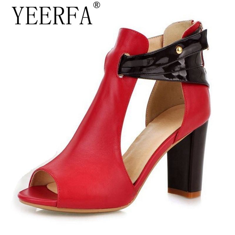 YIERFA Summer style high heel Genuine Leather sandals women sexy fashion lady female shoes R233 hot sale EUR size 34-43