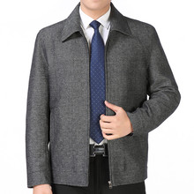 Spring and autumn jacket men's clothing turn-down collar loose male elderly jacket outerwear thin coat jaqueta masculina grey