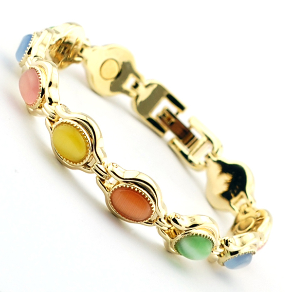natural semi precious stones magnetic luxury gold bracelet for women