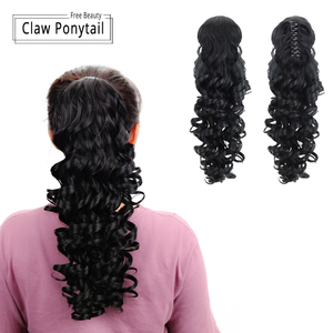"""Image 3 - 18""""Synthetic Ponytail Wigs Claw Clip On Hair Extensions Hairpiece Long Deep Wave Clip In Ponytail Hair Extension Heat Resistant"""