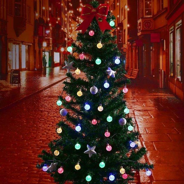 Led Strip 20ft 30 LED Crystal Ball Light String Solar Power Lamp Globe Fairy Lights for Garden Party Home Christmas Decoration