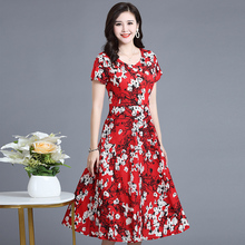 Summer new womens cotton silk dress woman floral round neck waist short sleeve print plus size S-5XL