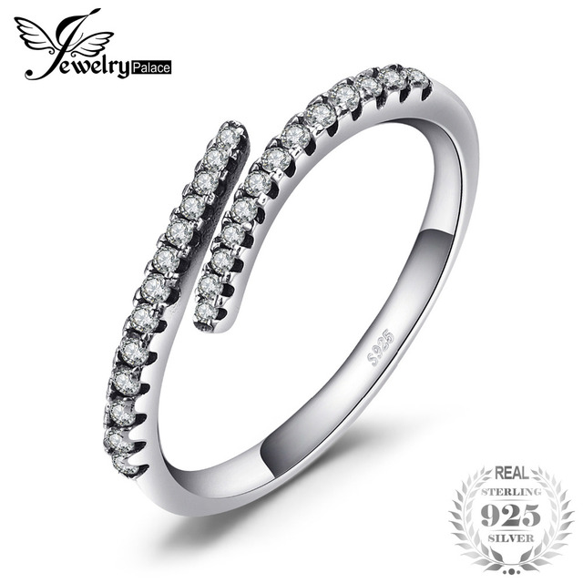 Jewelrypalace 925 Sterling Silver Rings Cubic Zirconia Open Statement Ring Sets