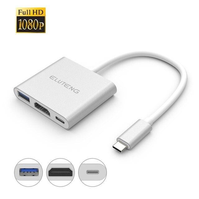 ELUTENG C HUB USB HDMI 1080 P USB3.1 a USB3.0 Poder Entrega carga USB-C para USB $ NUMBER/HDMI/Tipo C para el Nuevo MacBook ChromeBook