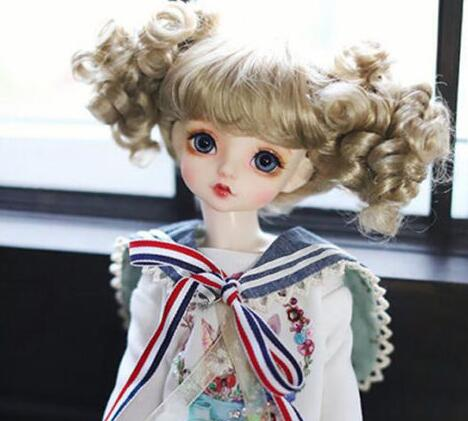 где купить New 1/3 22-24cm LUTS,BJD,SD DD MDD PULLIP Doll Wig Imitation Mohair Lovely Brown по лучшей цене