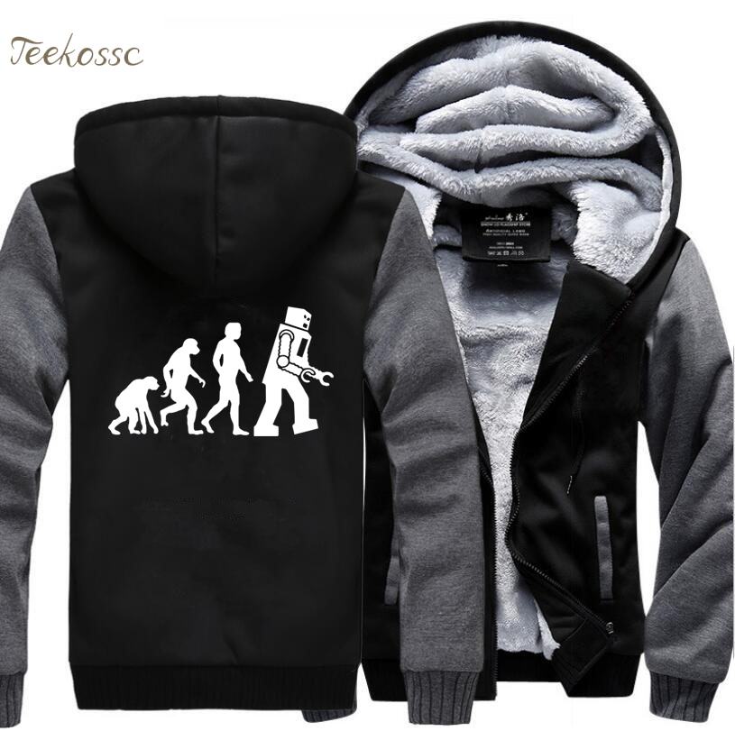 The Big Bang Theory Hoodie Robot Evolution Funny Hoodies Men 2018 Winter Jackets Fleece Top Quality Sweatshirt Thick Male Coat