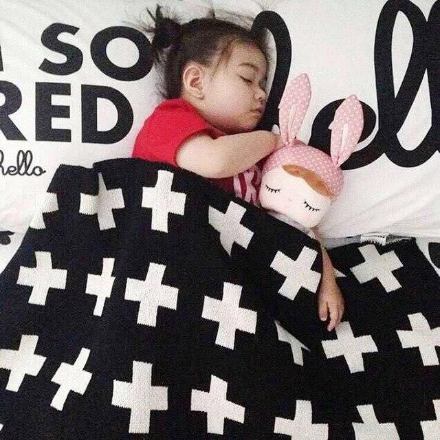 "Baby Blanket 100% Cotton Soft Envelope Children's Knitted Swaddle Blanket Sofa Crib Pram Cot Bed Baby Blankets Newborn 25""x43"""