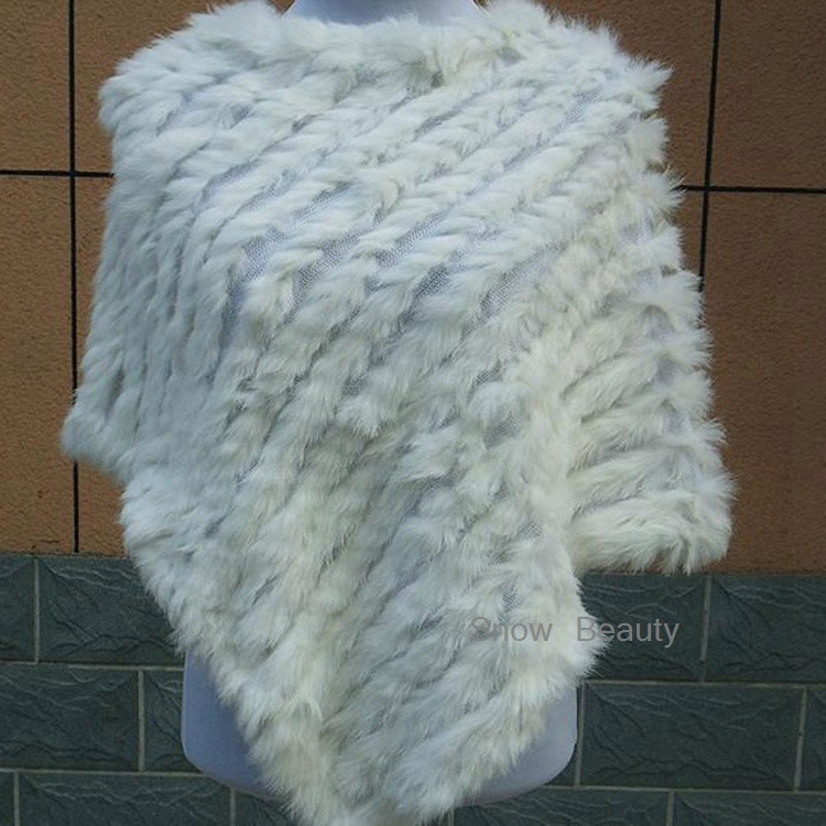 natural real knitted rabbit fur poncho shawl (2)