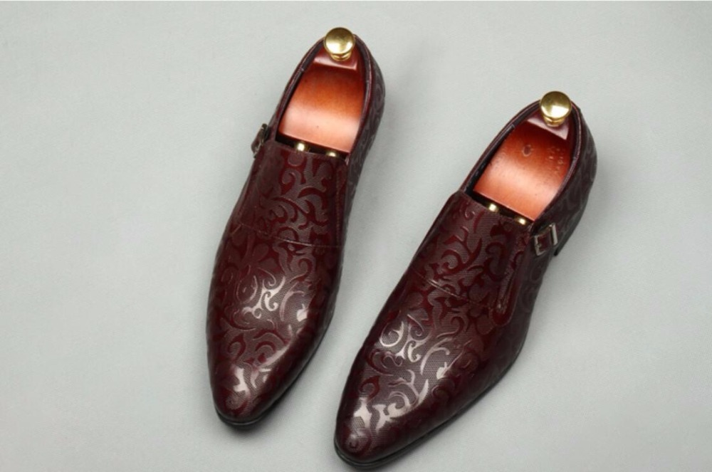 Floral Leather Men Dress Shoes Wedding Evening Party Night Club Men Formal  Leather Oxfords Shoes Fall 765638fbc74d