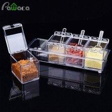 4 шт./компл. прозрачный приправа горшки для специй хранения контейнерная приправа банки графинчик с крышкой и ложка Кухня посуда расходные материалы