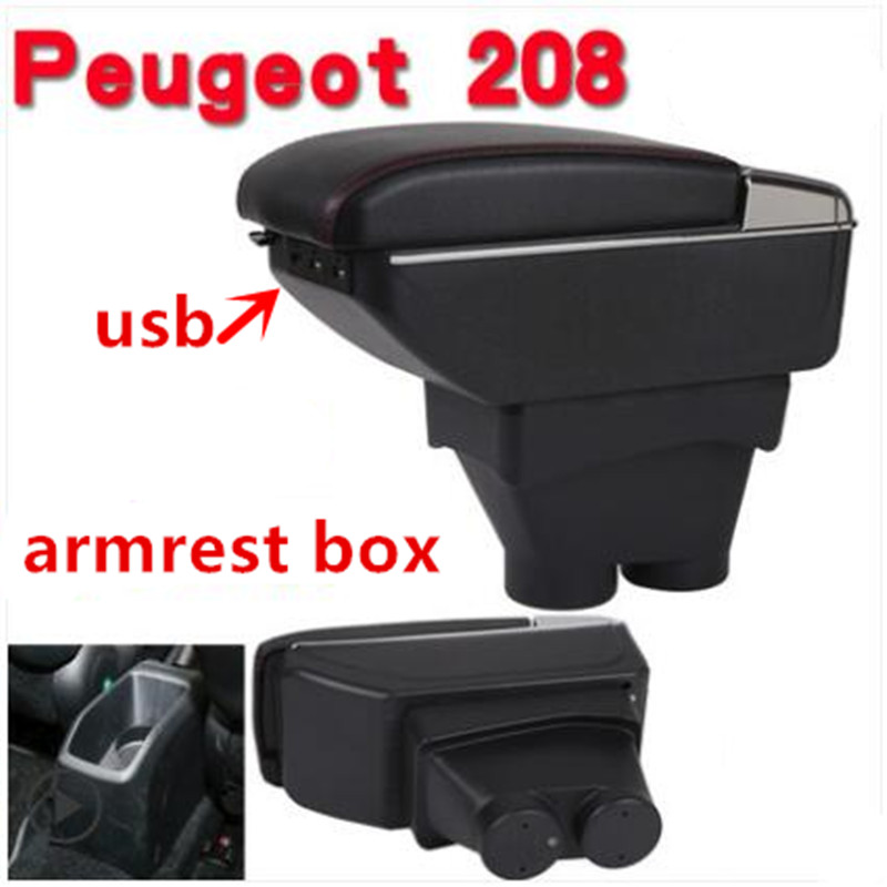 For peugeot 208 armrest box USB Charging heighten Double layer central Store content cup holder ashtray accessories 2012-2018