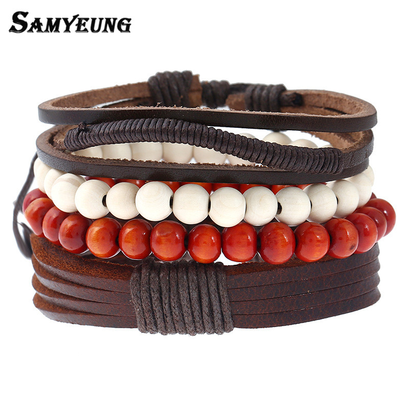 Samyeung 4Pcs Vintage Leather Beads Bracelets Set Jewelry for Women Rope Bracelet Braslet Man Pulseira Masculina Bileklik Bijoux
