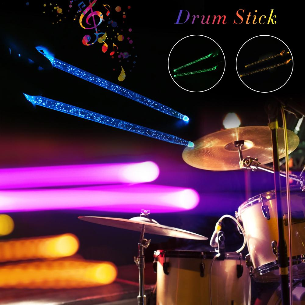 2pcs Acrylic Luminous Jazz Drum Stick Sturdy Durable Drumstick Bright LED Light Up Drumsticks Hand Drum Instrument Accessories