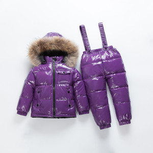 Image 5 -  35 Children Big Real Fur Collar Down Jackets+Strap Down  Sets Winter Boys & Girls Windproof  Russian Down Set Kids Ski Sets
