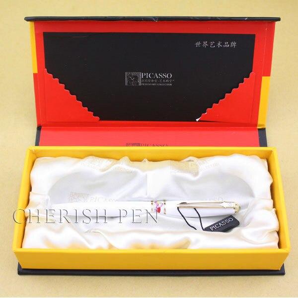 Горячая Пикассо 966 ослепляющий арт 10k чистый белый золотой шариковый ролик/Шариковая/Подарочная/Ручка-роллер ручки