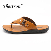 Hot Sale Platform Flip Flops Man Fashion Slippers Summer Men Brown Gold Pu Leather Comfortable House Shoes