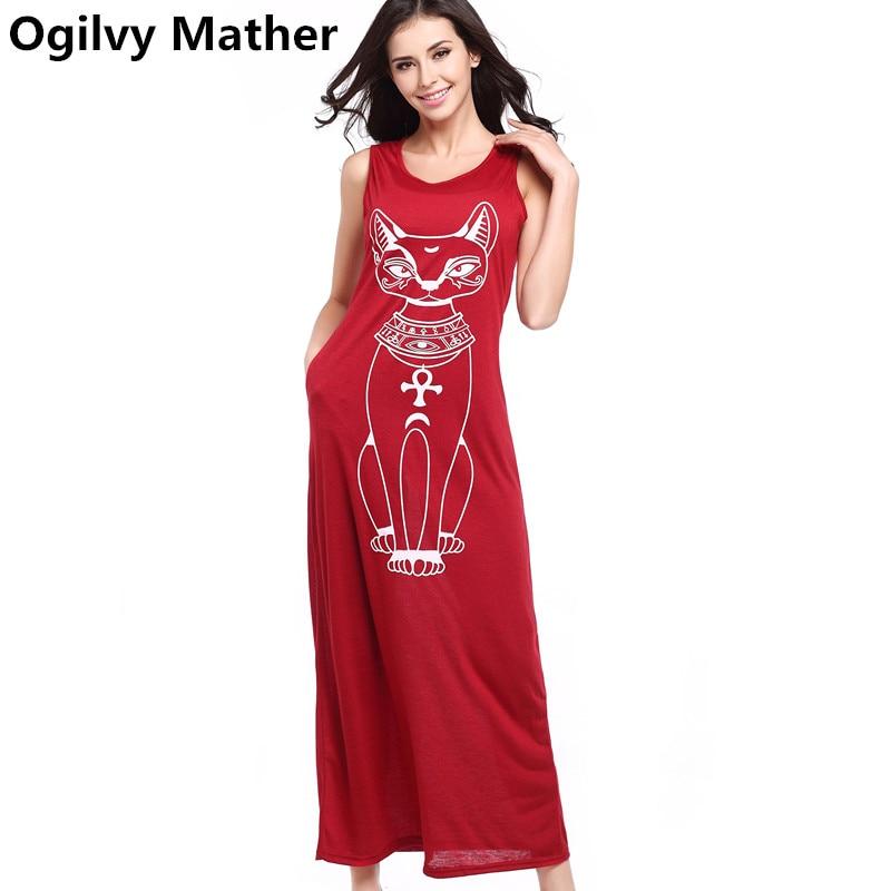 vestidos women summer Animal cat vest long dress Casual loose dress Sexy bag hip sleeveless plus size dresses for women ...