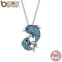 BAMOER Authentic 925 Sterling Silver Story Of Dolphin Clear CZ Pendant Necklaces For Women Luxury Sterling