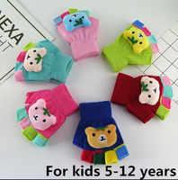 Осенне-зимняя обувь детская утолщаются теплые вязаные перчатки для мальчиков и девочек Детский Зимний милый медведь из мультфильма перчат...