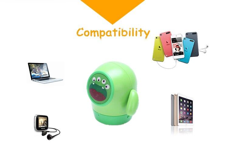Gute hot Mini Mung Bean bluetooth speaker portable green TF Handsfree call cartoon kid gift Christmas caixa de som altavoz child