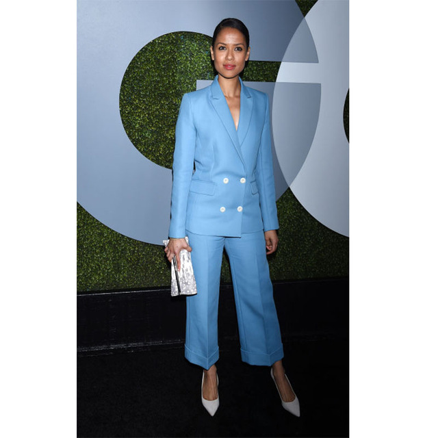New Light Sky Blue Womens Business Suits Double Breasted Ladies