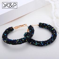 X & P модные брендовые круглые блестящие серьги-капли из горного хрусталя для женщин девушек простое геометрическое позолоченное кольцо сер...