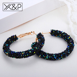 X&P Fashion Brand Round Shiny Rhinestone Gold Drop Earrings for Women Girl Simple Geometric Austrian Crystal Big Earring Jewelry
