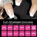 Venta caliente de Las Mujeres 12 Unids Plantilla Del Arte Del Clavo Francés Manicura DIY Stickers Tips Formulario Fringe Guías