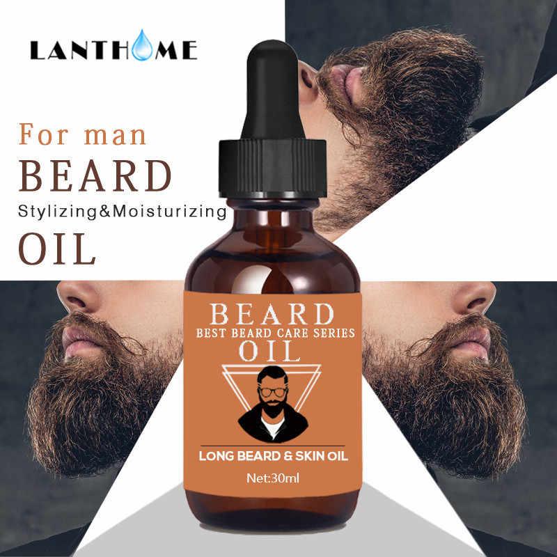 Naturel hydratant hommes barbe huile 30ml pour coiffer cire d'abeille lissage messieurs barbe soin cheveux revitalisant Moustache huile Kit