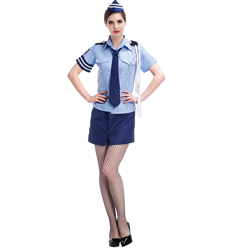 Halloween Costumes For Women Police Air Hostess Cosplay Costume Dress Sex Cop Uniform -2211